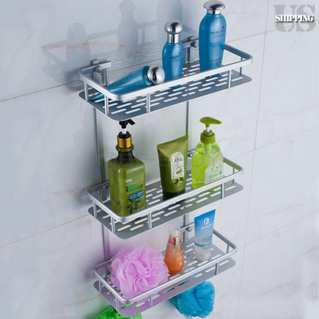 3 Tiers Aluminum Bathroom Wall Shelf Shower Caddy Tidy Organizer ...