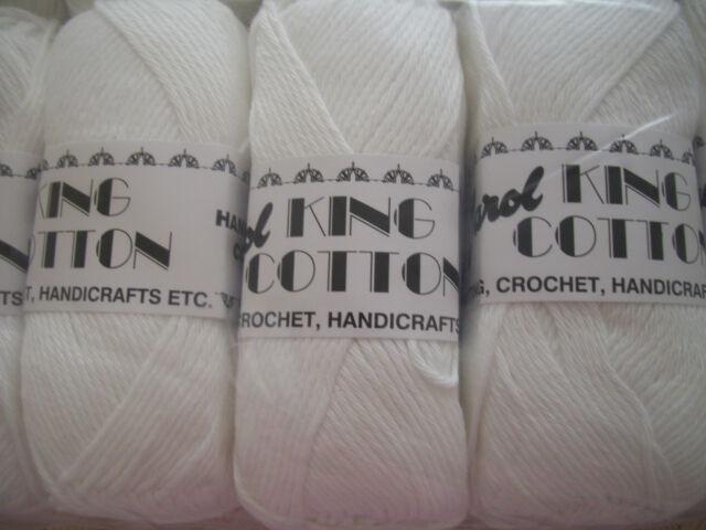 White Colour Craft Cotton By Jarol 5 x 100gm balls  [ 500g  ]