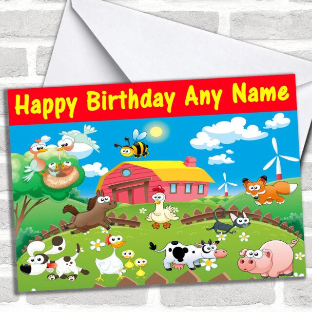 Farm Animals Personalised Childrens Birthday Card Ebay
