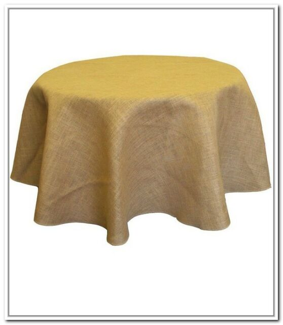 Small Tablecloth Burlap Natural Round Overlay 36 Inch By Broward Linens