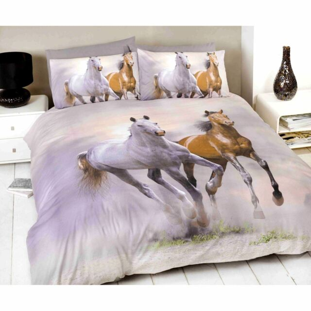 GALLOPING HORSES PONY SINGLE DUVET COVER & PILLOWCASE SET