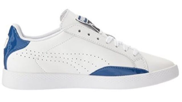 Women's Shoes PUMA Match Basic Lace Up Fashion Sneaker Leather White - True  Blue