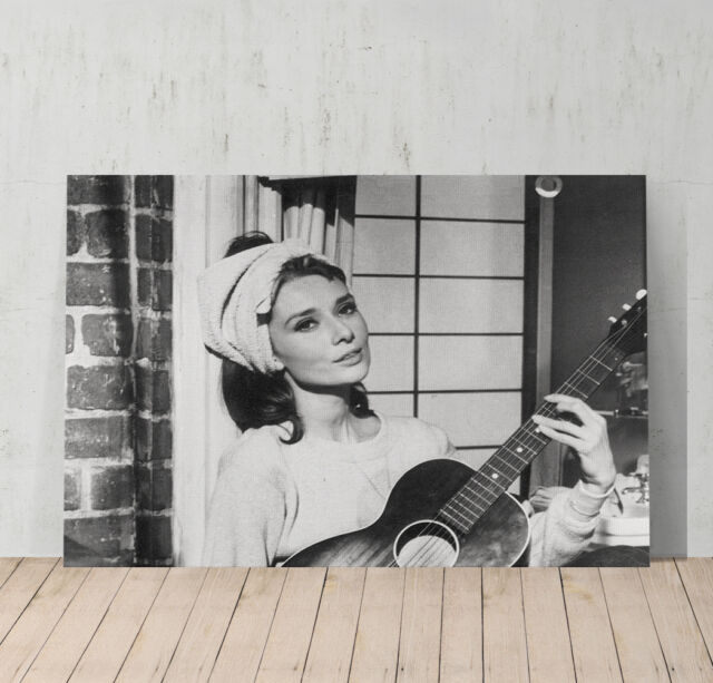 Audrey Hepburn Playing Guitar Decorative Art Canvas Print Modern Wall Decor