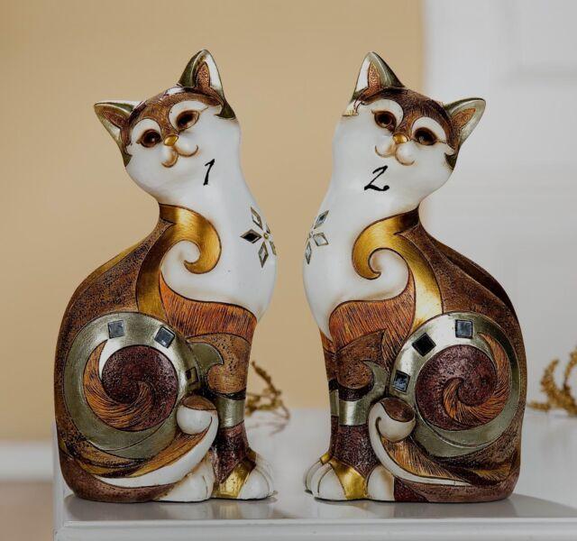 Gilde Katze 37657Poly gold beige braun Keramik Spiegelmosaik 17x10 Figur 2