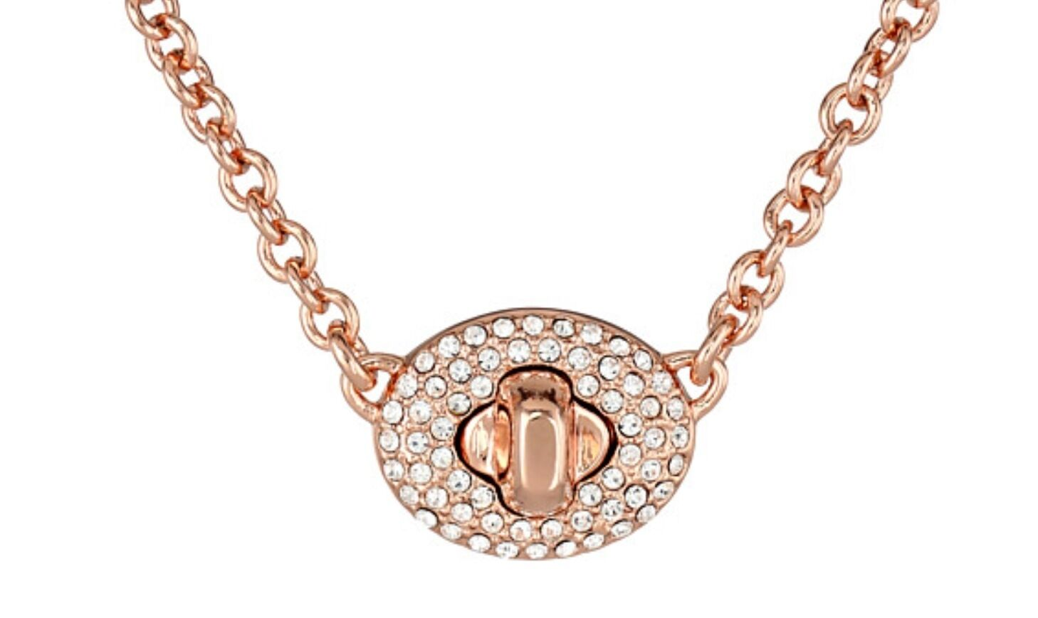 Womens Coach Short Pave Turnlock Rose Gold Necklace eBay