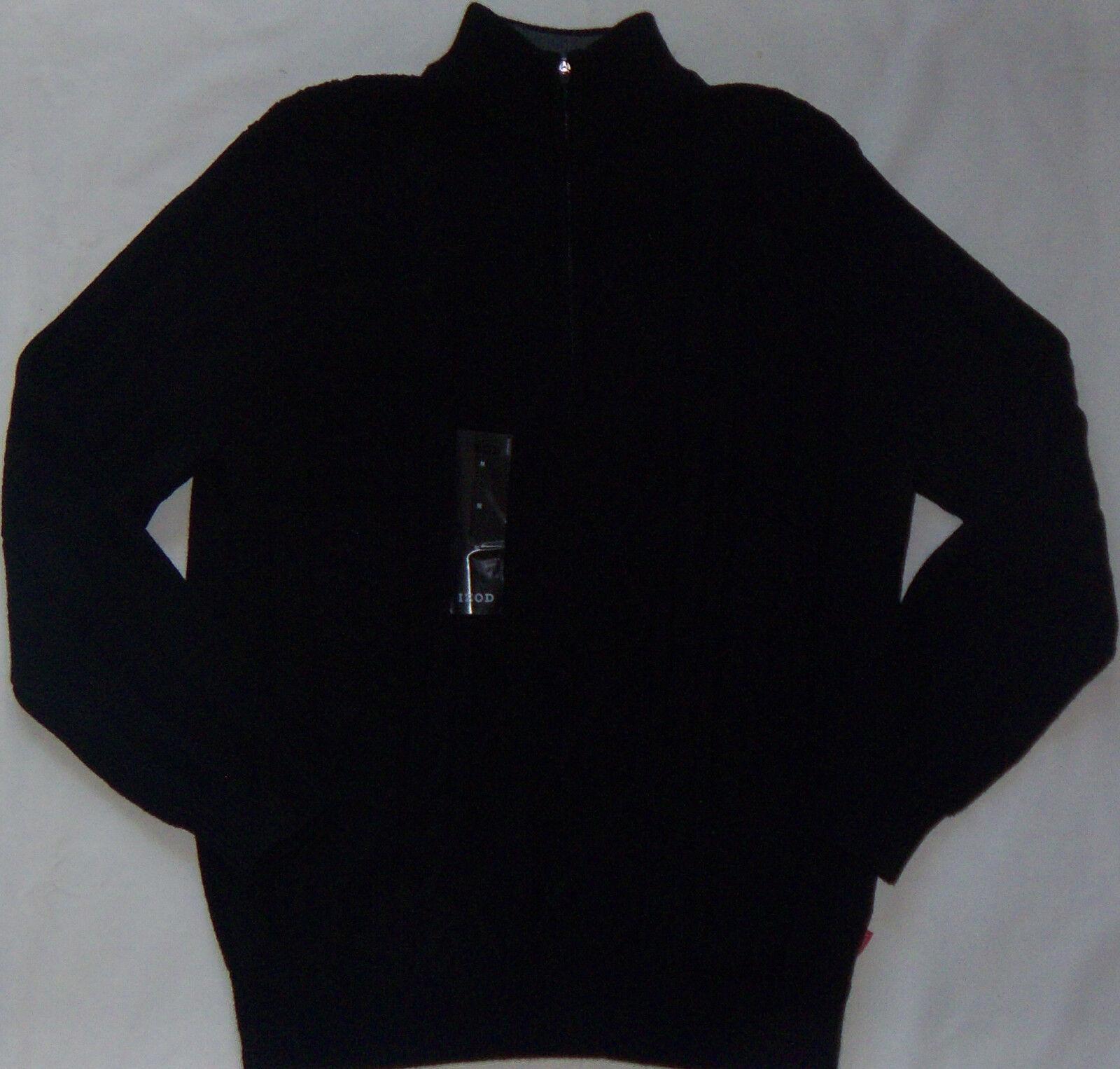 IZOD Men's Sweater Medium M 1/2 Zip Cable Knit Black Cotton Casual ...