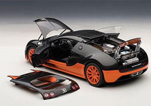 Autoart BUGATTI VEYRON SUPER SPORT CARBON BLACK/ORANGE SIDE SKIRTS 1/18  Rare!