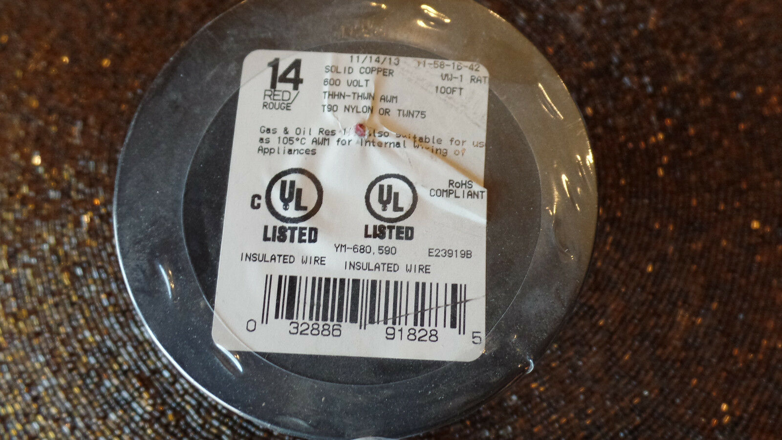 Southwire 14 AWG Red Solid Copper Insulated Wire THHN THWN AWM 100 ...