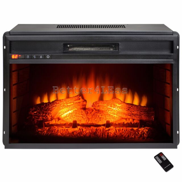 23 in freestanding electric fireplace insert heater with remote