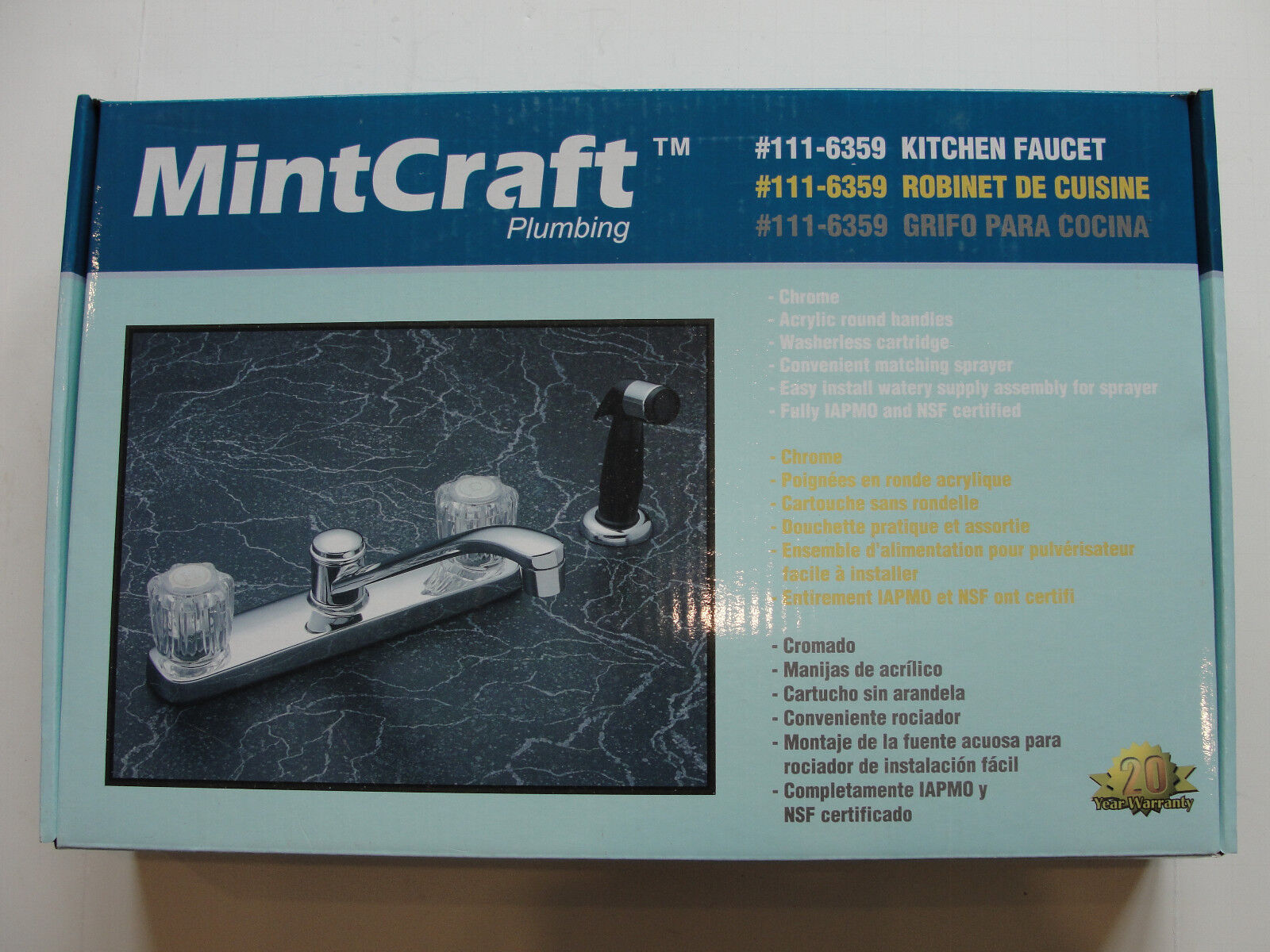 MintCraft 111-6359 Chrome Kitchen Sink Faucet W/ Side Spray | eBay
