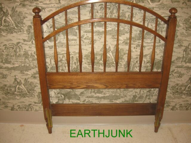 ethan allen twin headboard canterbury saddle oak bowback 11518 | s l640