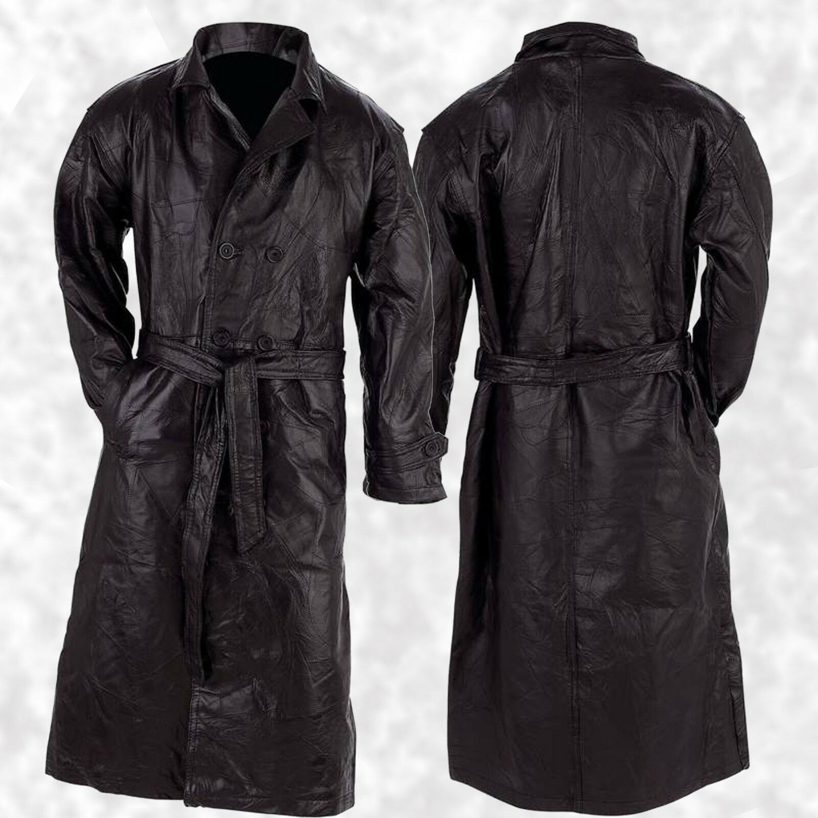 Mens Womans Black Leather Trench Double Breasted Duster Coat ...