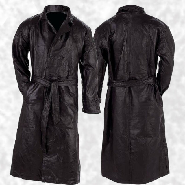 Italian Stone Design Black Men S Leather Trench Coat