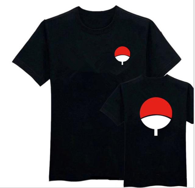 Black Uchiha Clan Crest Anime Itachi Sasuke Naruto Cos Tee T Shirt