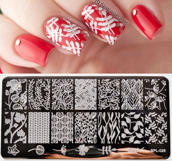Born Pretty Nail Art Stamping Plate Leaves Flower Vine Image ...