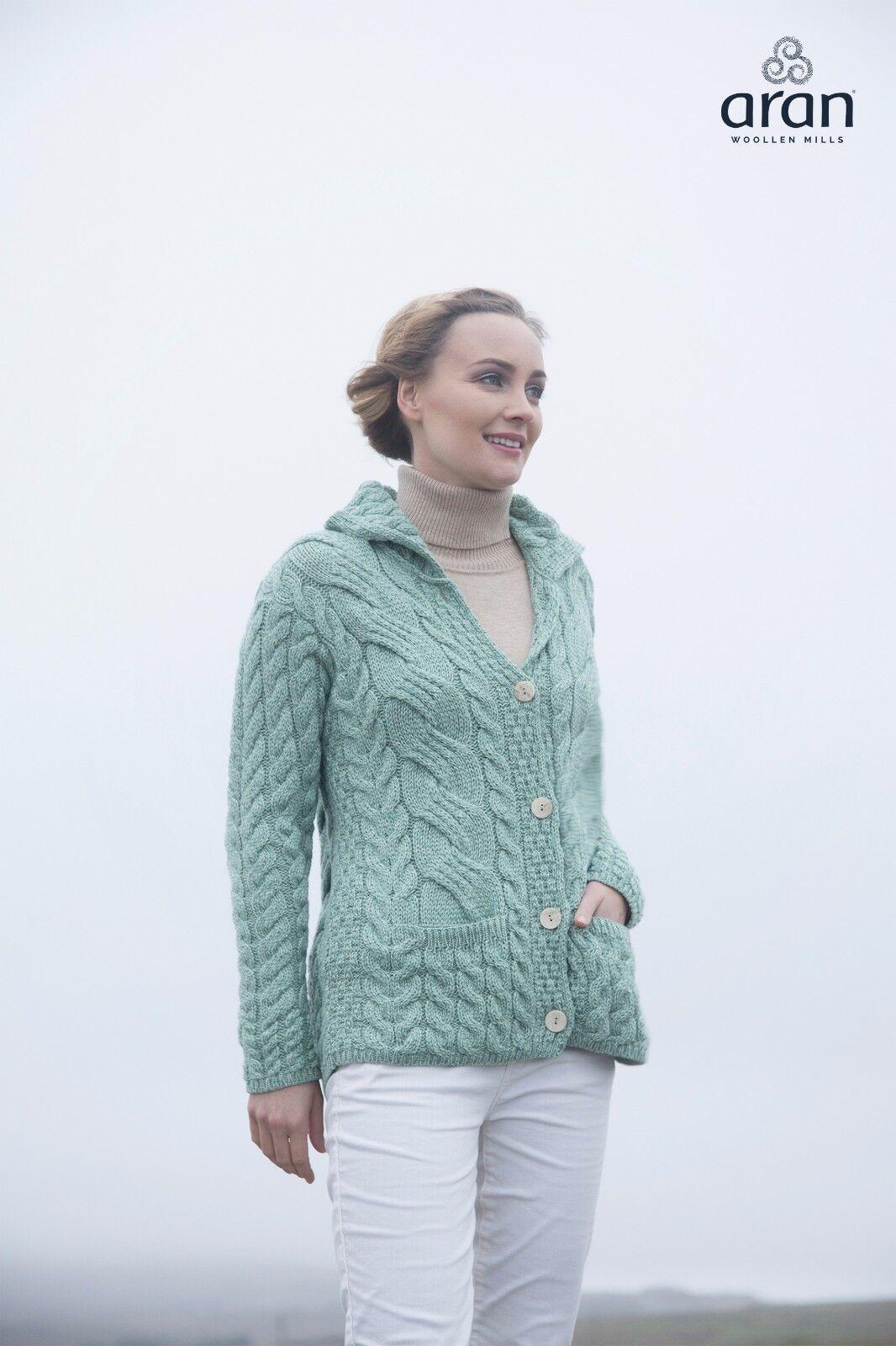 Womens Sea Green Irish Cable Knit Button Soft Merino Wool Cardigan ...