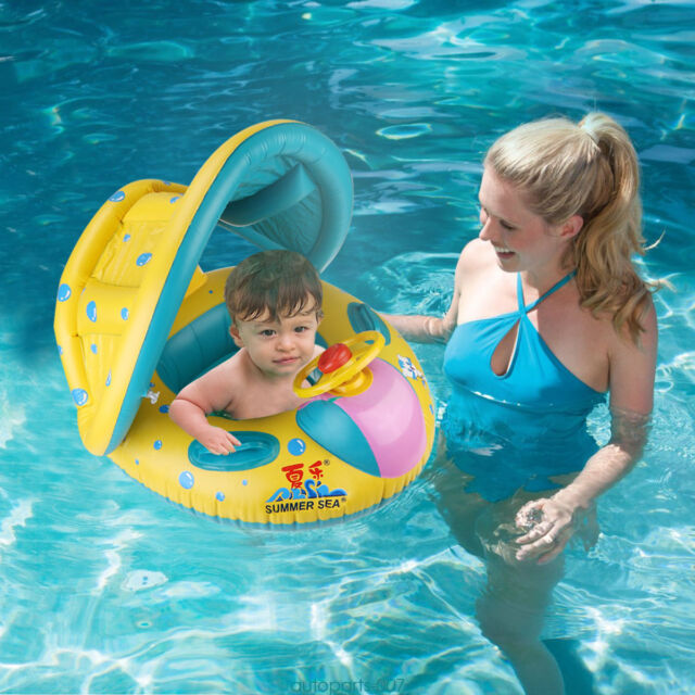 Inflatable Baby Swim Toddler Float Seat Pool Kids Swimming Ring Sunshade Ebay