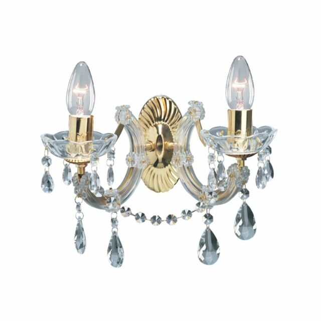 Searchlight marie therese 2 lights brass crystal wall bracket searchlight lighting 699 2 marie therese 2 light wall light aloadofball Choice Image