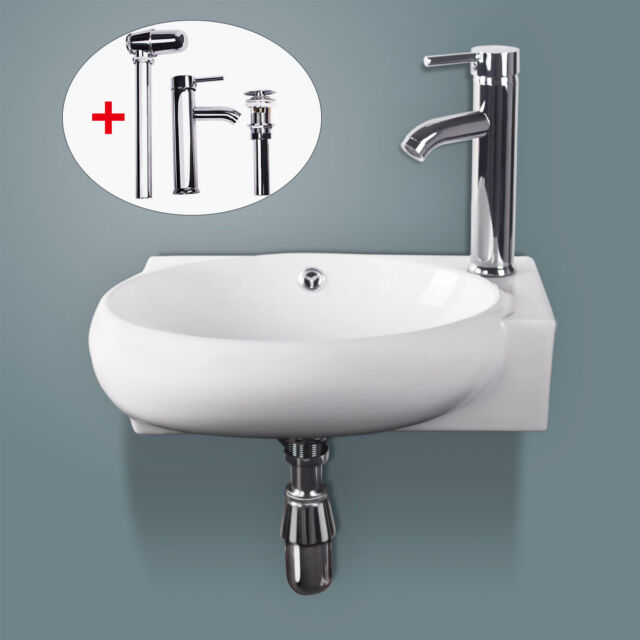 Bathroom white ceramic vessel sink bowl wall mount porcelain chrome faucet combo ebay for White porcelain bathroom faucets