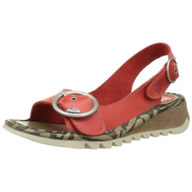 Donna Fly London Tram 723 zeppa sandali con cinturino alla caviglia pelle pieno