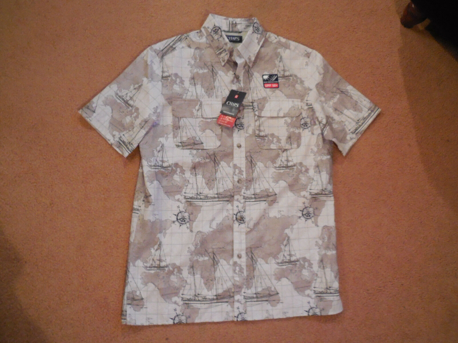Mens chaps world map outdoor easy dry performance button down shirt picture 1 of 11 gumiabroncs Image collections