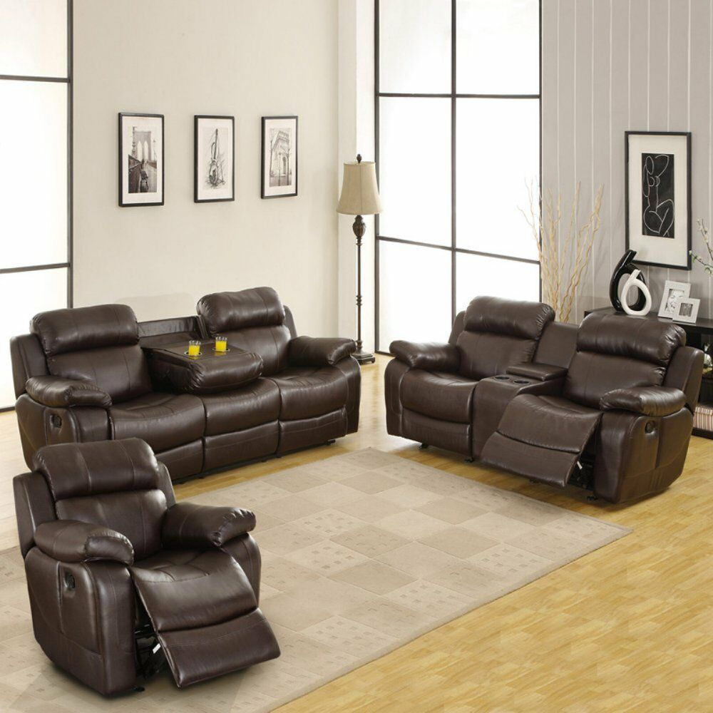 Weston Home Darrin Leather Reclining Sofa Set With Console Brown  ~ Leather Reclining Sofa Set