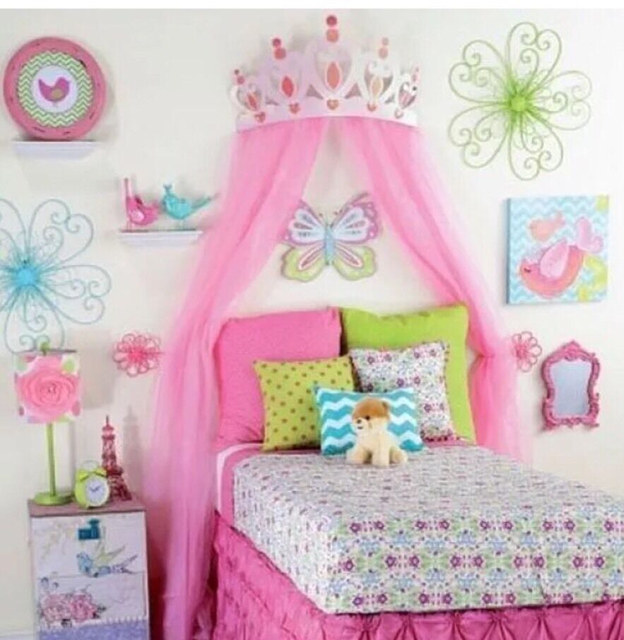 Princess room decor for girls large pink metal crown bedroom 3d picture 1 of 2 amipublicfo Image collections