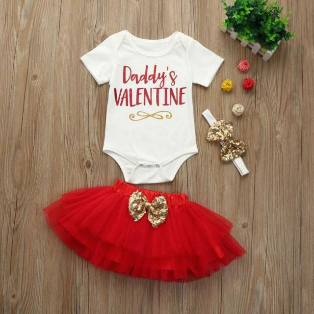 Newborn Infant Baby Girl Letter Romper Tops+Skirt Valentineu0027s Day Outfits  Set