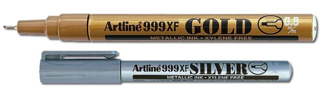 Artline 999XF (0.8mm) Permanent Markers Metallic Gold - 2 x GOLD markers