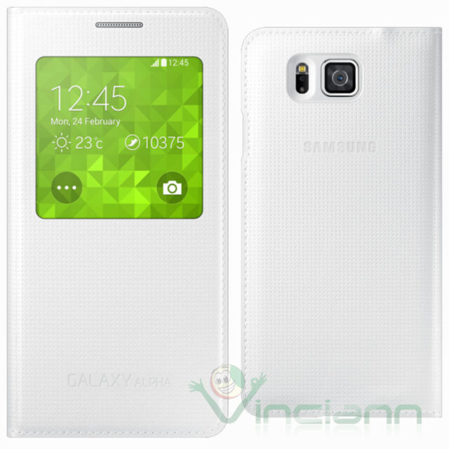 Custodia originale Samsung per Galaxy Alpha G850F cover S-View Bianca booklet