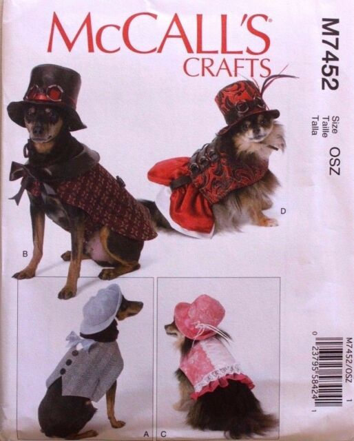 Mccall\'s Dog Clothes Sewing Pattern M7452 Steampunk Costumes Dress ...