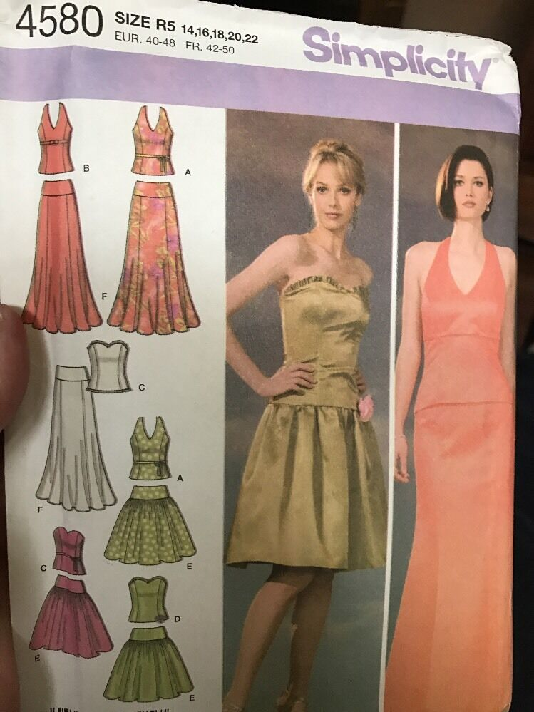 simplicity Sewing Pattern 4580 R5 14-22 Party Evening Gown Uncut ...