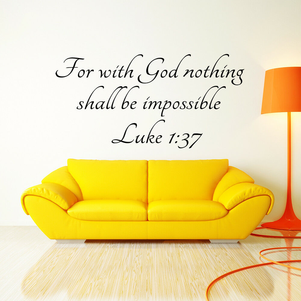 Luke 1 37 Bible Verse Vinyl Wall Stickers Decal Quote Inspiration ...