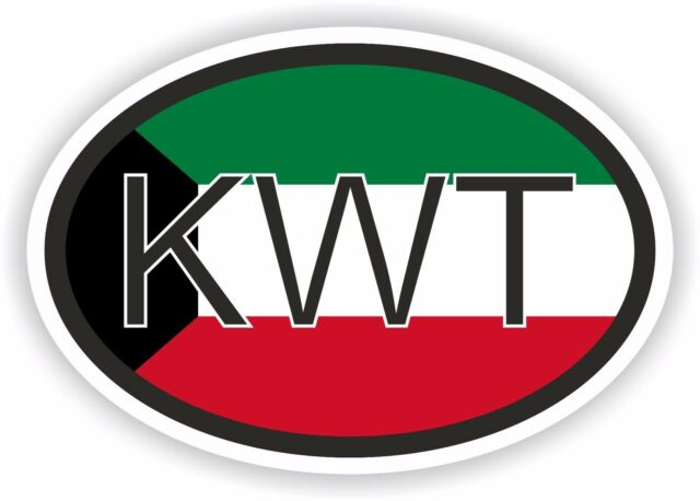 Kwt kuwait country code oval with flag sticker bumper decal car bike tablet