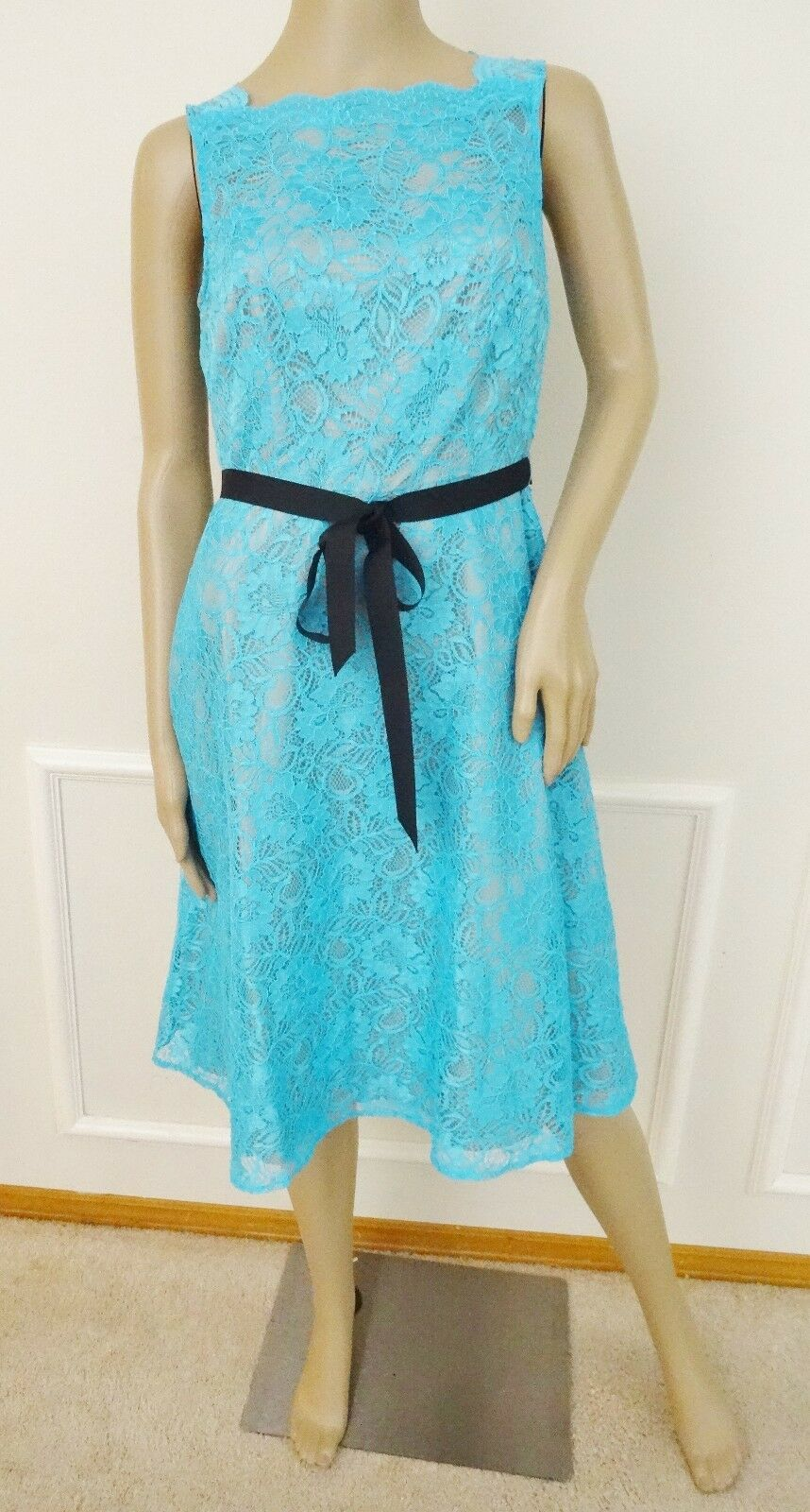Calvin Klein 5437 Womens Blue Lace Sleeveless Knee-length Party ...