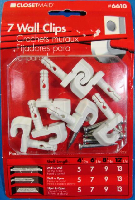 ClosetMaid Wall Mounting Clips For Wire Shelving Pack Of (7) #6610