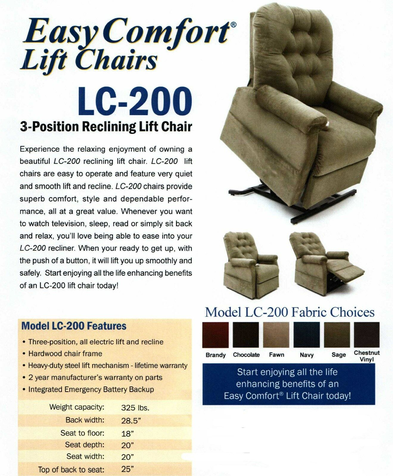 easy comfort lc 200 reclining lift chair wayne 3 position mega