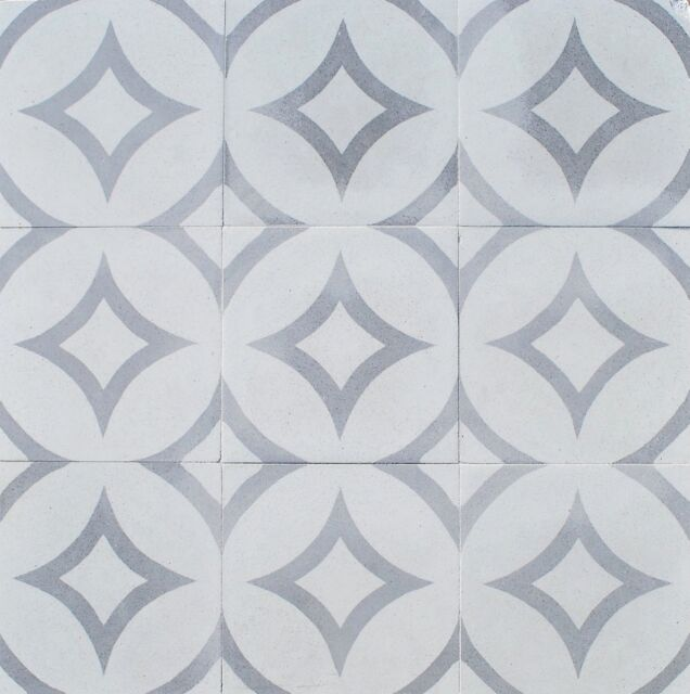 8x8 Luna Gray Geometric Encaustic Cement Tile Floor And Wall Kitchen Bath