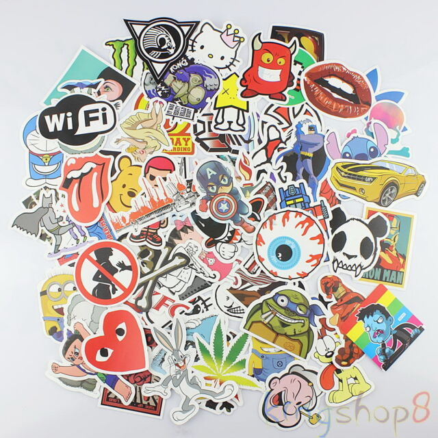 200 mixture cool cute stickers skateboard vinyl sticker laptop luggage car decal