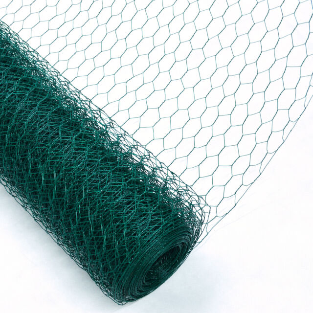 Chicken Wire Mesh Rabbit Fence 25mm Green PVC Coat Garden Net 0.6 X ...