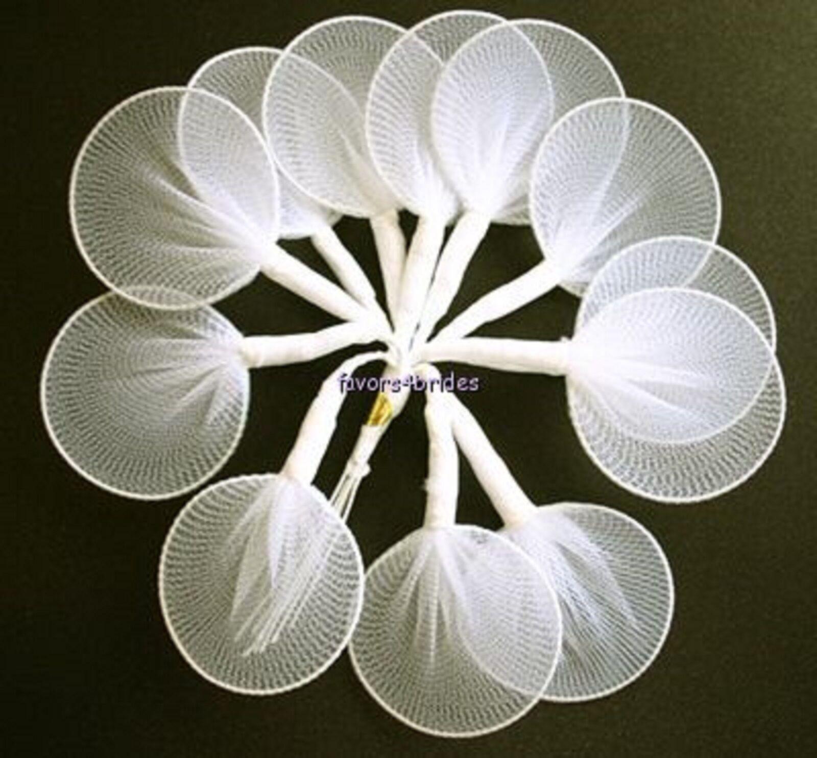 144 White Nylon Jordan Almond Leaves Flower Candy Holders Wedding ...
