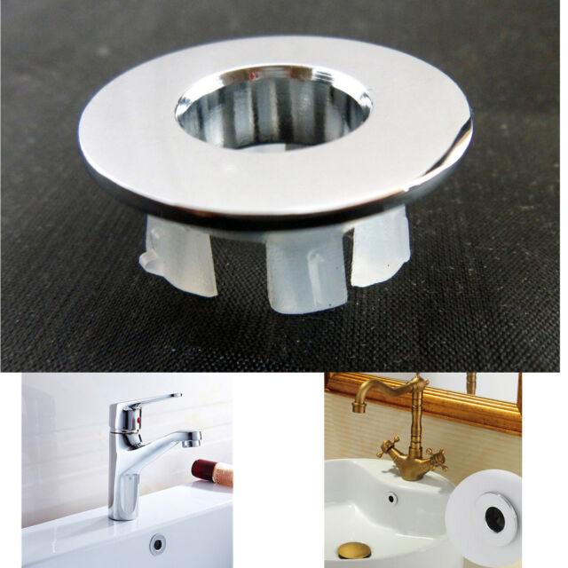 2Pcs Bathroom Sink Overflow Trim Ring Chrome Hole Cover Cap Round Insert US