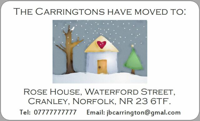 New address stickers house home christmas xmas we have moved to labels snow