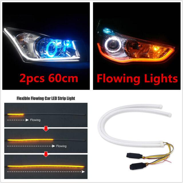 2x60cm car flexible flowing led light strip sequential headlight drl 2x60cm car flexible flowing led strip drl light sequential headlight white amber mozeypictures Gallery