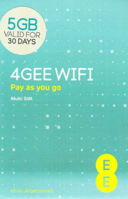 EE 4G Mobile Broadband Data SIM preloaded with 5GB lasting 30 days