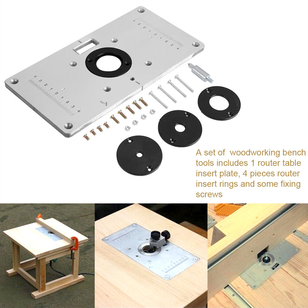 Aluminum router table insert plate w 4 rings screws for woodworking resntentobalflowflowcomponenttechnicalissues greentooth Images