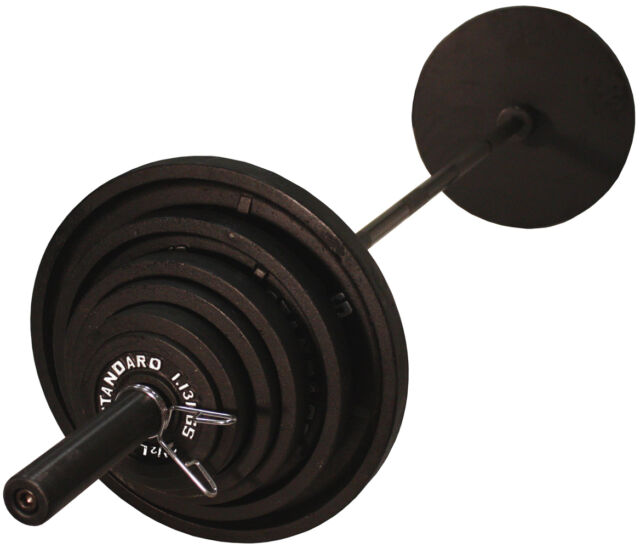 Troy USA Sports BOSS-300B Olympic Weight Set with Black Olympic GOB-86 Bar  sc 1 st  eBay & Troy Barbell USA Sports 300 LB Olympic Weight Plate Set With Black ...