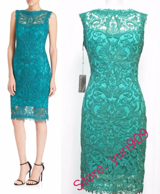 Tadashi Shoji Aqua Embroidered Lace Sleeveless Cocktail Dress Size ...