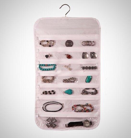 Hanging Jewelry Organizer 37 Pockets Bedroom Closet Zippered Display