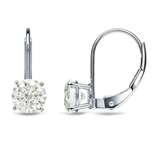 2 Ct Round Cut Solitaire Stud Earrings in Solid 14k Real White Gold